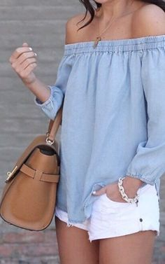 #summer #outfits Blue Off The Shoulder Blouse + White Denim Short + Camel Leather Tote Bag