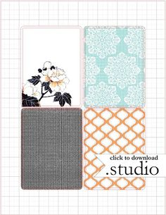 "Free 3x4"" Journal/Filler cards from Mel Stampz. In your choice of format: Silhouette cut file, PDF, PNG and JPG."