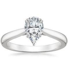 Pear Cut Audrey Solitaire Diamond Engagement Ring - Platinum