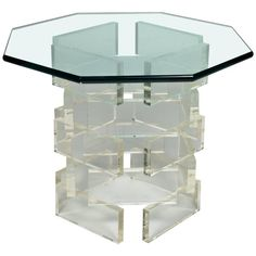 For Sale on - Lucite brick side table with glass top. Balloon Shades, Brick Siding, Scenic Wallpaper, Mismatched Dining Chairs, Acrylic Furniture, Glass Brick, Chic Living Room, Living Rooms, Blue Floor