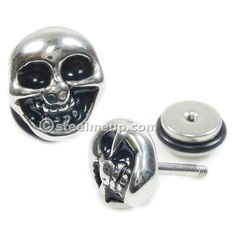 Pair Stainless Steel Smile Skull Screw Stud Earrings