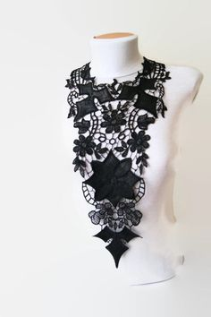 NECKLACE Lace Jewelry   Black  tribal leather   by ArtofAccessory, $49.00