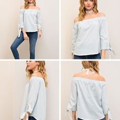 Chambre/White Striped Off the Shoulder Top   - Sm to Lg - $34 Weekend Specials * CLOTHING 30% off - All Brands * Jeans 50% off ALL Brands * Jude, Gretchen Scott 40% off  * All bath products 20% off