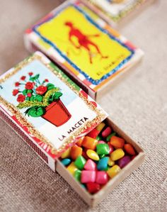 Fiesta/Cinco de Mayo Favor idea: Chiclets in Matchboxes Party Fiesta, Festa Party, Mexican Party Favors, Mexican Candy Table, Mexican Desserts, Mexican Themed Weddings, Mexican Wedding Decorations, Spanish Wedding, Thinking Day