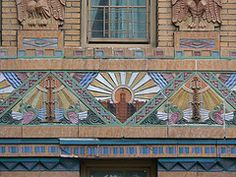 Facade decoration on art deco apartment building, Bronx, New York