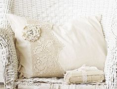 Vintage Rose Lace Pillow Feather/Down