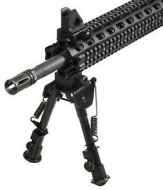 223 556 M/AR 4/16/15 Tactical OP Bipod SWAT/Combat Adjustable Height AR 15  High-tech durable aluminum construction and steel top platform  Clever dual mounting - Picatinny Mount and swivel stud mount  Foldable arms with robust external spring tension control  Fully adjustable legs with Posi-lock wheel and quick retraction button  Panning: Capability to slightly turn the clamp mount horizontally along a vertical axis to offer a wider range of aiming angles without moving the stands.