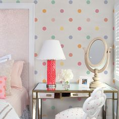 Polka Dot Pink Peel & Stick Fabric Wallpaper Repositionable - Simple Shapes Wall Decals, Furniture, and Accessories