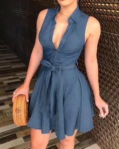 chicme / Sleeveless V-Neck Tie Waist Shirt Dress Trend Fashion, Fashion Wear, Style Fashion, Mini Vestidos, Vestido Casual, Womens Fashion Online, Fashion Women, Casual Dresses, Mini Dresses