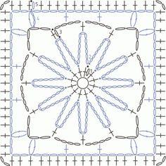 Схема вязания узора квадратный мотив крючком