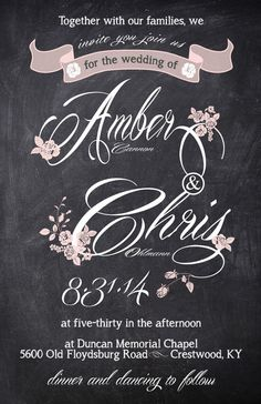 Chalkboard floral with hint of pink