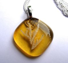 Check out Amber Yellow Fused Glass Necklace on thejeremiahtreeglass