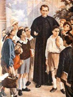 São João Bosco com os jovens.