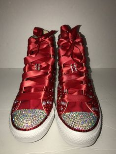 2c3b06a585e5 WOMEN s Red Bling Converse All Star Chuck Taylor Sneakers HIGH TOP