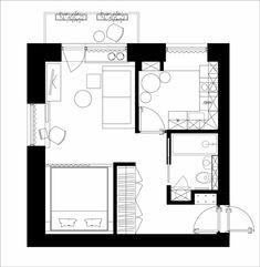 Маленькая квартира студия. Дизайн интерьера.