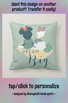 Minnie Mouse & Daisy Duck | Dream Big Throw Pillow - tap/click to personalize and buy #ThrowPillow #dream #big, #typography, #disney #mickey Accent Pillows, Throw Pillows, Yellow Feathers, Big Yellow, Daisy Duck, Mickey And Friends, Artwork Design, Disney Mickey, Custom Pillows