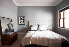 """Wall colour is Wattyl Interior Design i. Luxury Low Sheen in """"Snowdonia"""" strength. Trim colour is Wattyl Interior Design i. Silky Satin in """"White"""". Interior And Exterior, Interior Design, Interior Ideas, Home Bedroom, Bedroom Decor, Bedroom Wall Colors, Grey Walls, Beautiful Bedrooms, Sweet Home"""