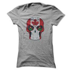 Canadian Flag Maple Leaf Sugar Skull Tshirt