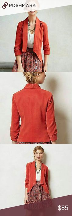 """Anthropologies Cartonnier Ruched Blazer NWT By combining feminine sensibilities with menswear-inspired materials and contemporary cuts, Cartonnier creates intellectual yet whimsical clothing. Perfectly tailored but by no means buttoned up, this chic burnt orange colored blazer adds a dose of polish to your jeans-and-tee routine.  Tencel; polyester lining Regular: 22""""L Anthropologie Jackets & Coats Blazers"""