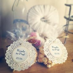 Baby shower giveaways filled with kettlecorn