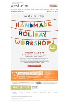 """This fun email creative uses """"handmade"""" elements to fit the theme for the event they are promoting."""