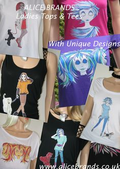 A selection of lovely Alice Brands Tops, that are soft to the skin made form delicate materials, whether relaxing or playing. Ideal women's wear for fitness training, campus and socializing in, all with original youthful designs in vibrant colours. Mix and match our Tops and designs and email us your choice! etsy.com/uk/shop/AliceBrands … www.alicebrands.c...