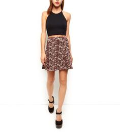 Burgundy Jersey Chevron Skater Skirt