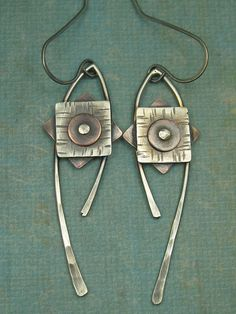 Sterling Silver and Copper Geometric Dangle Earrings by AmorphicMetals