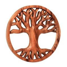 Novica Living Tree Wood Relief Panel Wall Décor