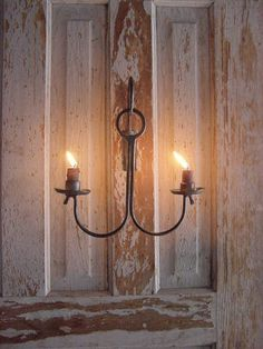 Primitive Early Metal Lighting Hanging Candle Holder Lighting Handmade Forged by Blacksmith. via Etsy.
