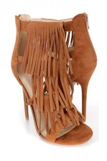 Whiskey Fringe Strappy Single Sole Heels Faux Suede