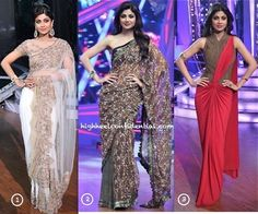 While taping episodes of her television show, Ms. Shetty gave us back-to-back sightings in saris. Of the three featured below, which is your favorite?
