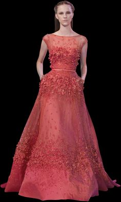 Spring / summer - dressy style -Party look - embroidered illusion neckline orange fitted gown - ELIE SAAB - Spring Summer 2014
