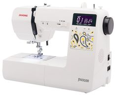 If you are looking for a more affordable Janome sewing machine that still gets pretty solid reviews then you may wish to check out the Janome JW8100.  It has 100 built-in stitches, sews smoothly and quietly, and is light enough to take to classes.  It also comes with a host of accessories including 6 presser feet, an extension table and a hard cover. Sewing Machine Brands, Sewing Machine Reviews, Sewing Machines, Extension Table, Juki, Janome, Stitches, Cover, Check