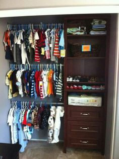 High Quality Project Nursery   Boy Gray And Orange Nursery Closet View