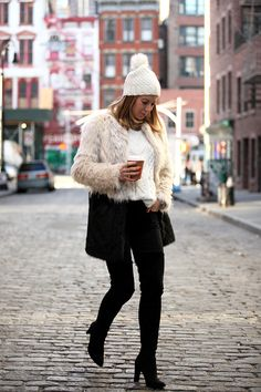 My Four Favorite Locations in NYC via BrooklynBlonde.com / @Helena Glazer Faux Fur Coat: Express   Sweater: Express   Denim: Express   Beanie: Express   Scarf: Express   Boots: Stuart Weitzman 'All Legs'   Bag: Givenchy   Sunglasses: Ray Ban   Outfit #2: Boots: Acne   Bag: Saint Laurent Tuesday, December 8, 2015