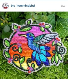 Day 9 of is the story behind your name. Blu Hummingbird is my spirit name 💙 I received it during ceremony in 2013 🌱 Native Beading Patterns, Beadwork Designs, Bead Embroidery Patterns, Native Beadwork, Native American Beadwork, Bead Loom Patterns, Beaded Embroidery, Nativity Crafts, Beaded Animals