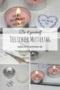 DIY Gift for Mother's Day - make tealight with love message yourself (+ free template) - Geschenke - Pregnancy Gifts Diy Gifts For Mothers, Diy Gifts For Girlfriend, Presents For Boyfriend, Boyfriend Gifts, Mother Day Gifts, Gift For Mother, Diy Presents, Mother's Day Diy, Love Messages