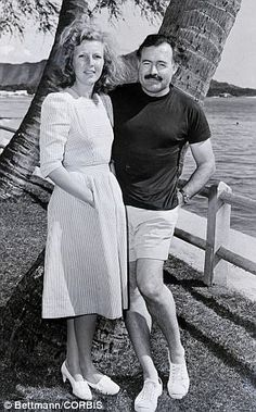 Tough, independent women scared Hemingway, who preferred those who were more 'daughterly'. Hemingway is pictured with third wife Martha Ernest Hemingway, Hemingway Cuba, Martha Gellhorn, Story Writer, Writers And Poets, Independent Women, Scott Fitzgerald, Classic Films, Muscle Men