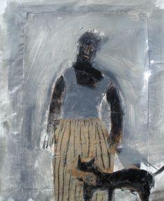 Cook with Bird Dog, Oil on Paper 16x14, Gigi Mills @ Gallery Orange