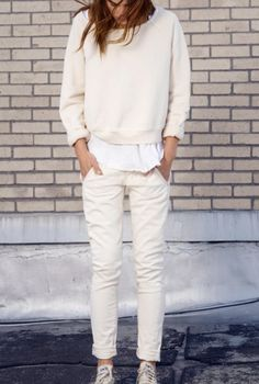 White sweater, jeans and sneakers. Casual street women fashion outfit clothing style apparel @roressclothes closet ideas