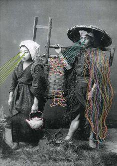 Geborduurde oude zwart-wit foto's