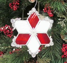 Peppermint Snowflake by MoreThanColors on Etsy, $28.50