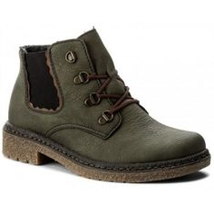 38a6ff3159 Ladies lace up casual ankle boot in green with contrasting brown laces.  These boots have