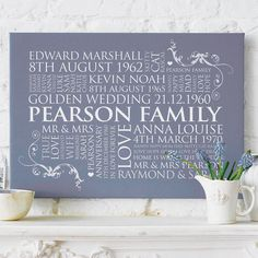 Personalised Family Word Art from notonthehighstreet - perfect for Mum & Dad's wedding anniversary