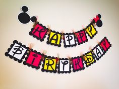 Mickey and Minnie Birthday Banner  by CircularDecorations on Etsy https://www.etsy.com/listing/234788865/mickey-and-minnie-birthday-banner