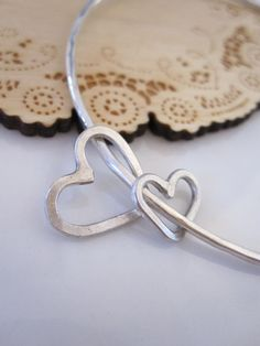 Heart mother daughter sterling silver bracelet - by Tidepools Jewelry