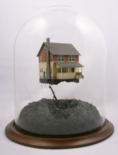 Intricate snow globe dioramas by Thomas Doyle The Bell Jar, Bell Jars, Floating House, Cloche, Minis, Miniature Houses, Glass Domes, Little Houses, Tiny Houses