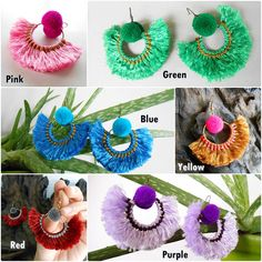 Pretty Fluff Cotton and Nice Pom poms with Brass Earrings, Jewelry Thailand Handmade. (JE1043)
