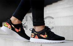 Nike Roshe Run schwarz stieg Floral benutzerdefinierte Männer & Frauen